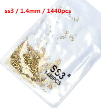 Load image into Gallery viewer, 1440 pcs Clear Crystal Gold Nail Art Rhinestones Decorations