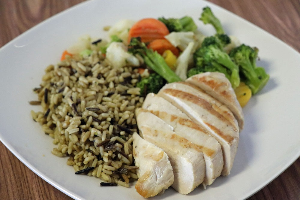 Grilled Chicken with Roasted Veggies and Wild Rice