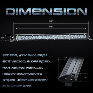 100W Super Slim Single Row LED Light Bar, 21 inch