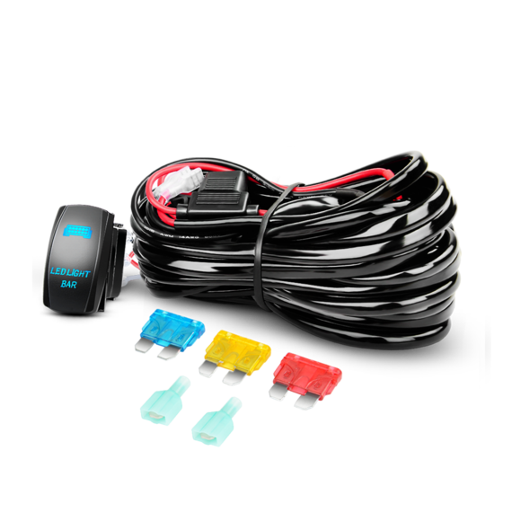 14AWG Heavy Duty Wiring Harness Kit 12V with 5Pin Laser On off LED Light Bar Rocker Switch-1 Lead