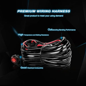 14AWG Heavy Duty LED Light Bar Wiring Harness Kit 12V- One Lead