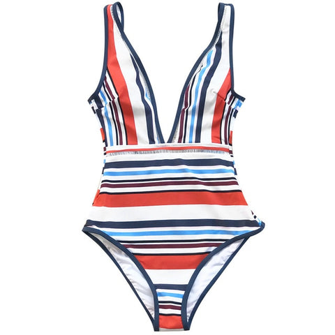 Colorful Stripe Backless One-Piece