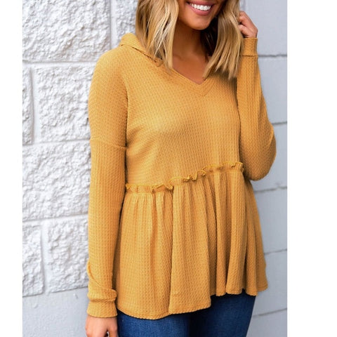 Yellow Hooded Ruffle Top