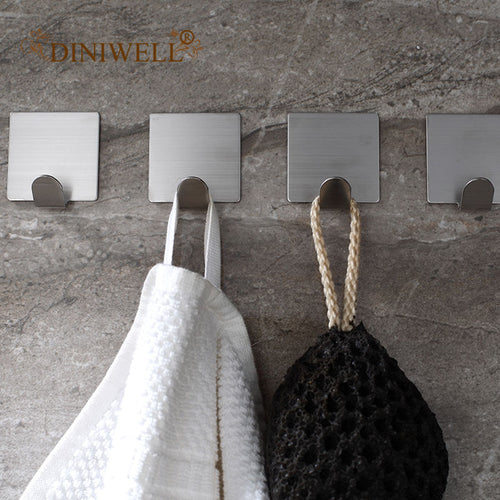 4 Pcs Stainless Steel Wall Hooks Self Adhesive