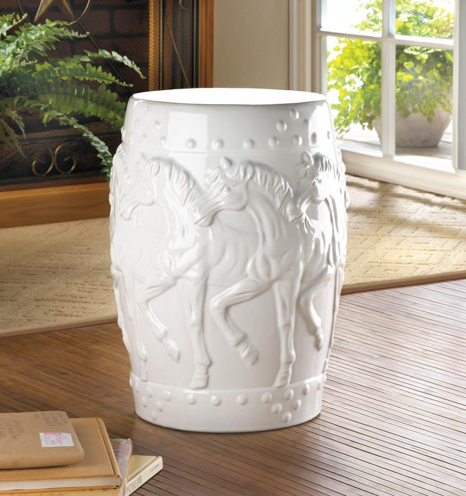 White Horses Ceramic Stool