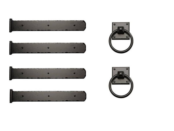 "Rustic Series Mission 17-1/2"" Style Hinges with Square Ring Pulls Kit"