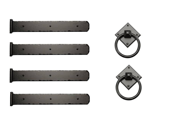 "Rustic Series Mission 17-1/2"" Style Hinges with Diamond Ring Pulls Kit"