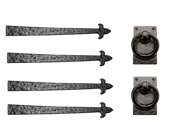 "Rustic Series Fleur de Lis End 20"" Aluminum Strap Hinges & Door Ring Set"