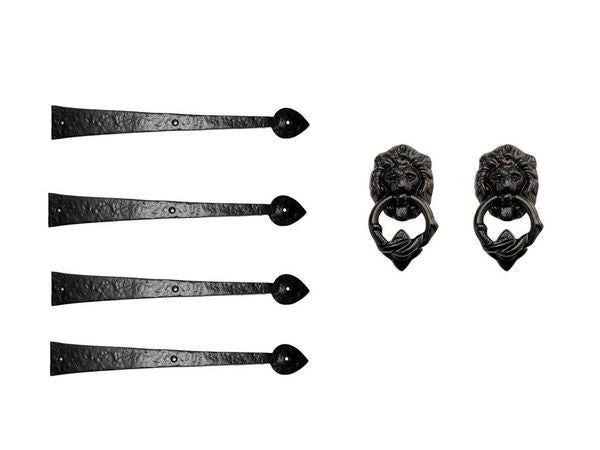 "Iron Series 16"" Strap Hinges and Loin Head Knocker Set"