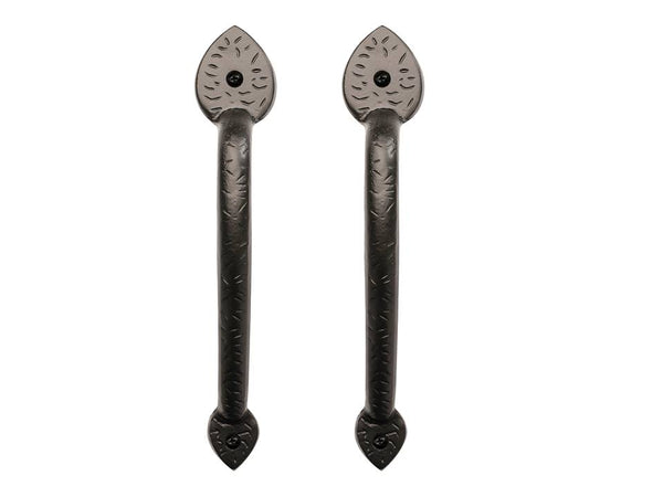 "Pair of Rustic Series 10"" Solid Aluminum Traditional Spear End Pull Handles"