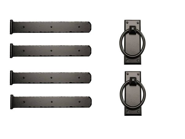 "Rustic Series 17-1/2"" Mission Style Decorative Strap Hinges with Ring Pulls"