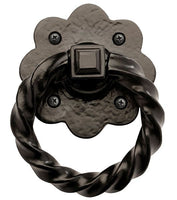 "Rustic Series 4"" Aluminum Twisted Door Knocker Ring Pull w/Base"