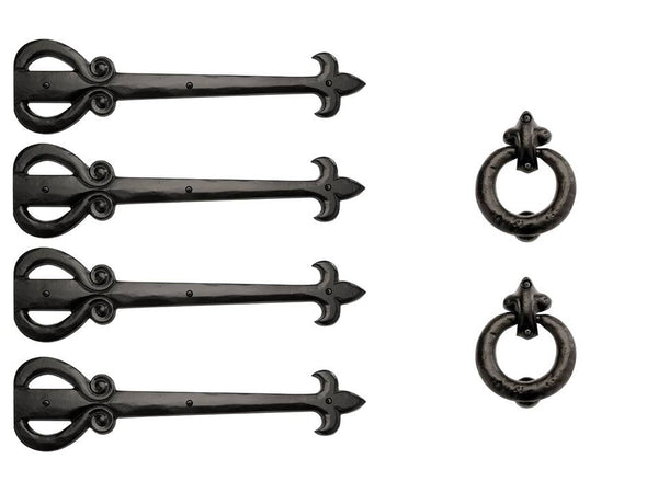 "Timberlake 18"" Rustic Solid Aluminum Strap Hinges & LIS Door Rings Set"