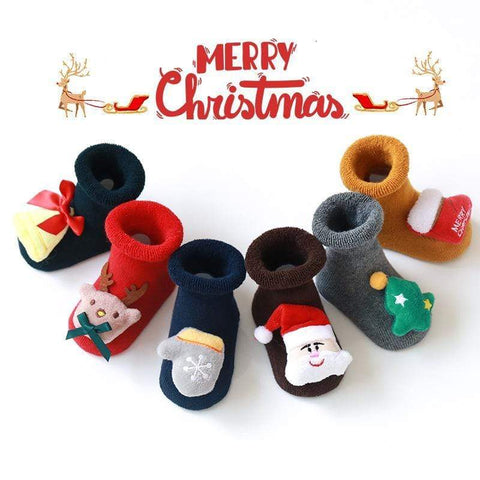 mysite shoes 17''-22'' Reborn Baby Socks Rubber Anti Slip Shoes Warm Christmas Cartoon Cute