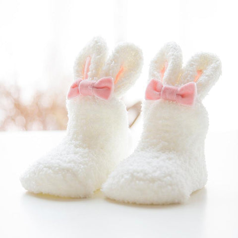 mysite shoes Vamgokids 17''-22'' reborn baby Winter Thick Coral Socks Cute Rabbit Long Ear WHITE