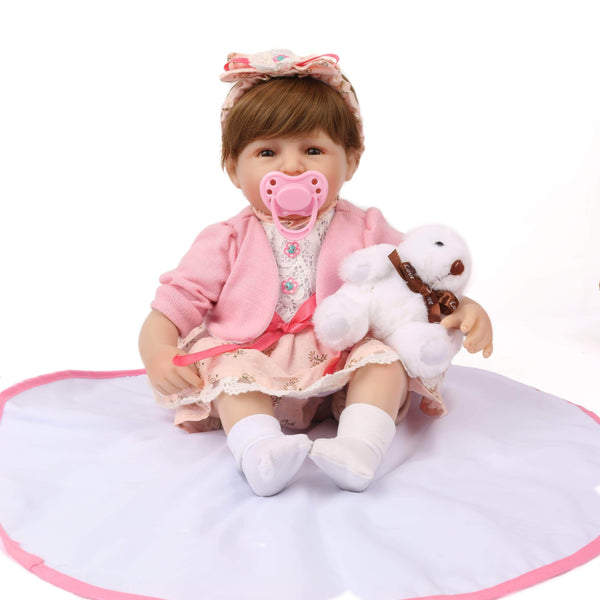 reborndollsshop 16'' Cloth Body Reborn Dolls 16 inch Little Riley Reborn Baby Doll Girl
