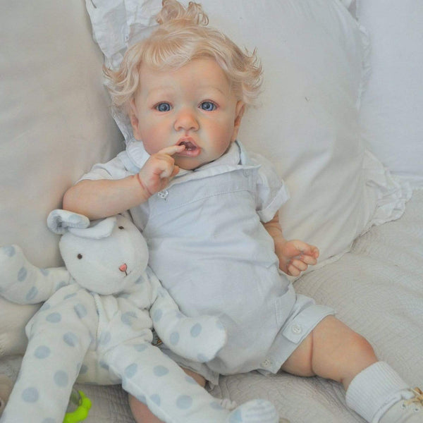 reborndollsshop 22'' Cloth Body Reborn Dolls 22'' Cute Azariah Soft Reborn Baby Girl Doll - Handmade by Rebirthdoll