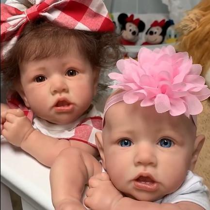 reborndollsshop 22'' Cloth Body Reborn Dolls Both of them / Cloth Body Baby Doll 22'' Twin Sister Erica and Adele Reborn Baby Doll Girl