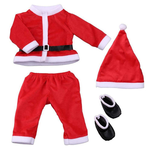 reborndollsshop baby clothing 20-22 inch 4PCS Infant Baby Santa Christmas Tops+Pants+Hat+Socks Outfits Costumes——Baby Boy & Baby Girl
