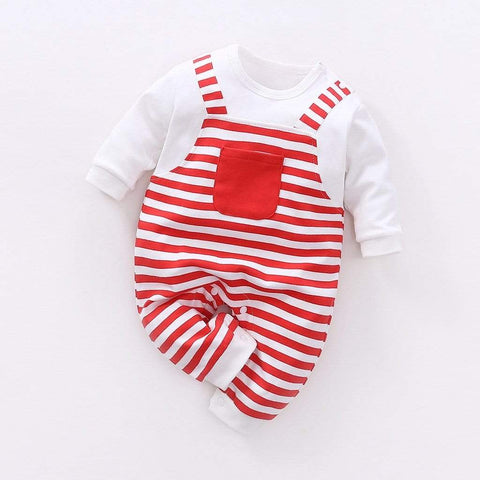 reborndollsshop baby clothing Red Striped Jumpsuit suitable for 22'' rebirth dolls