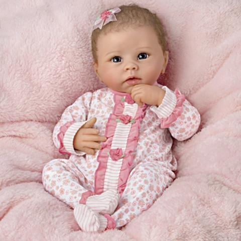 reborndollsshop bestseller 22'' Little Katie With Brown Hair and Blue Eyes Reborn Baby Doll