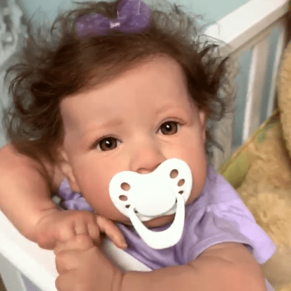 22'' Little Sylvie With Brown Hair And Eyes Reborn Baby Doll Girl