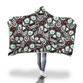 Green Leaf Skull Hooded Blanket