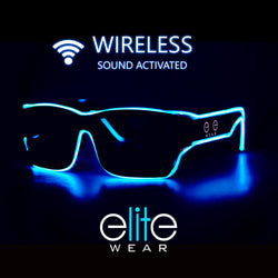 Wireless Light Up Glasses - Aqua Wayfarer