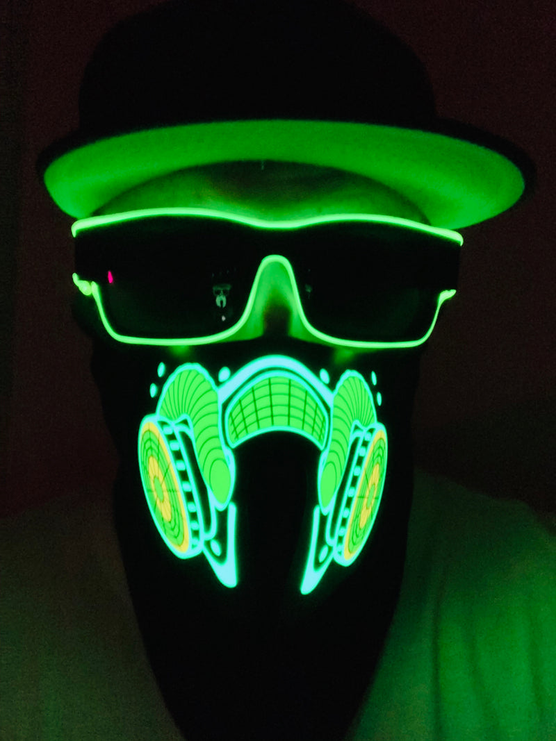 SOUND-ACTIVATED EL PANEL LED LIGHT UP MASK