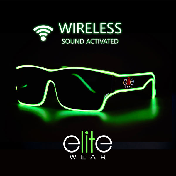 Wireless Light Up Glasses  - Lime Wayfarer