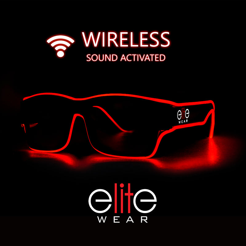 Light Up Glasses Wireless - Red Wayfarer