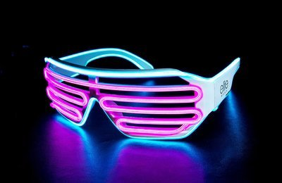 Shutter Shades Wired Light Up Glasses - Aqua | Pink