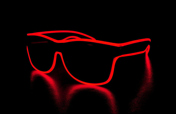 Wired Light Up Glasses -Red Wayfarer