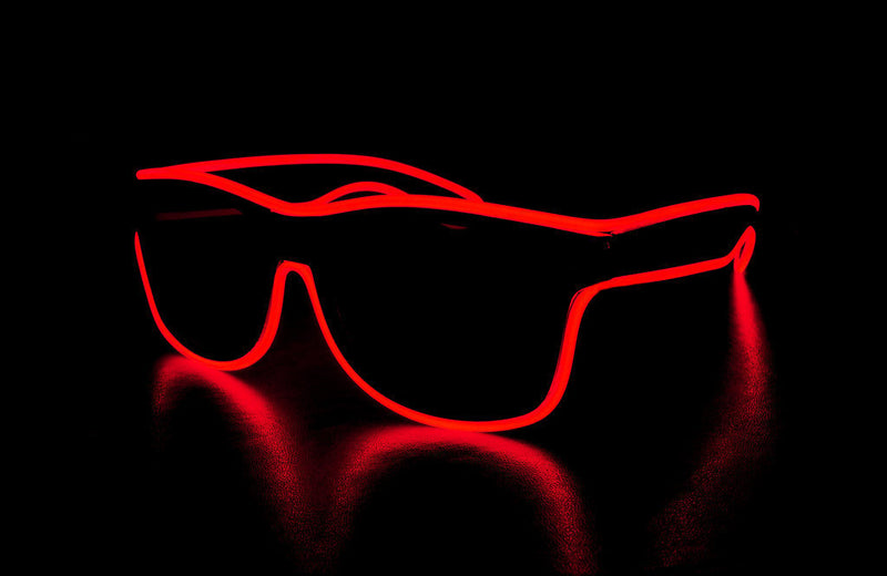 Light Up Glasses Wired -Red Wayfarer