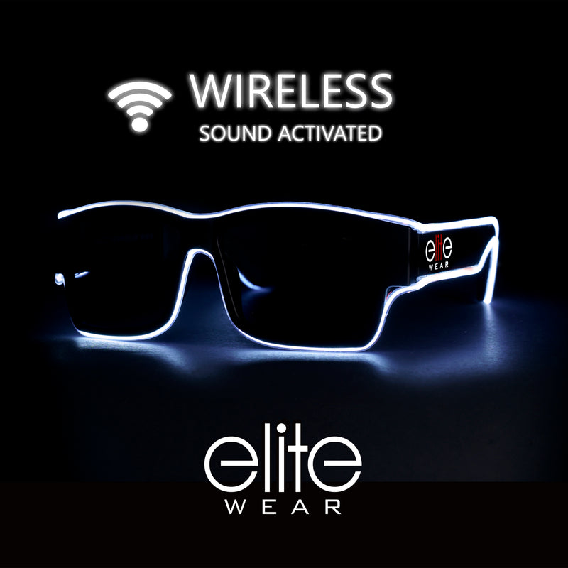 Light Up Glasses Wireless - White Wayfarer