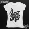 women tshirt 100% cotton - Green Queen Lettering - white