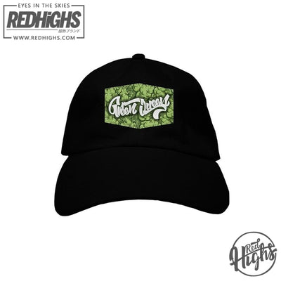 BASEBALL CAP - GREEN QUEEN WEED PATCH - BLACK