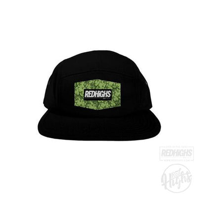 5 panel hat - weed patch - black-Hats-Red Highs-redhighs-streetwear-clothing
