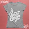 women tshirt 100% cotton - Green Queen Lettering - silver