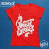 women tshirt 100% cotton - green queen lettering - red