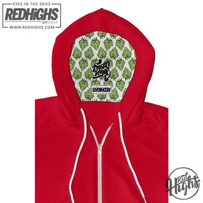 Hoodie zip - green queen limited - red