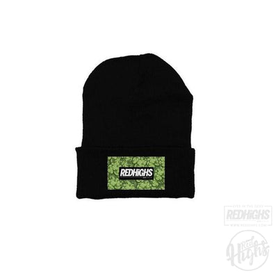 beanie - weed patch - black-Beanies-Red Highs-redhighs-streetwear-clothing