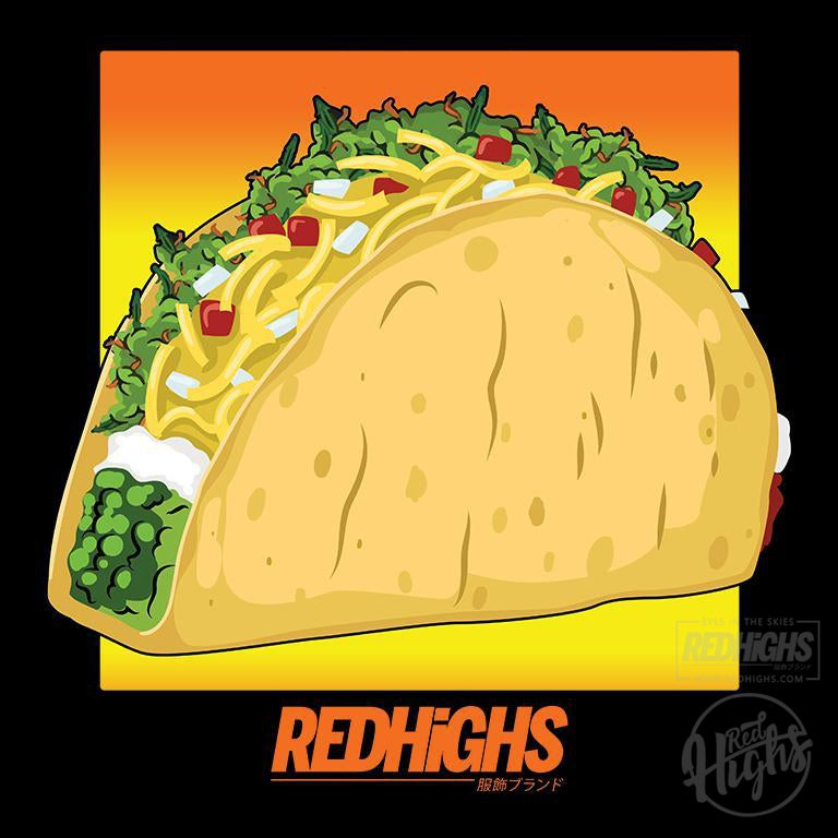 crop top - weed tacos - black-Crop tops-Red Highs-redhighs-streetwear-clothing
