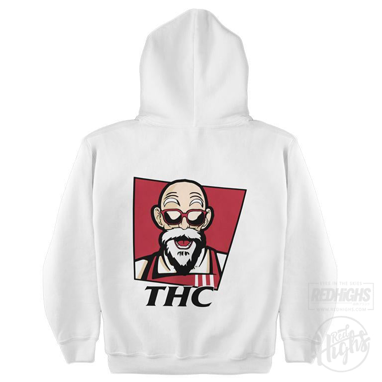 Hoodie - chicken bucket thc - white-Hoodies-Red Highs-redhighs-streetwear-clothing