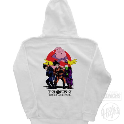 hoodie - ghostbuster x dbz - white-Hoodies-Red Highs-redhighs-streetwear-clothing