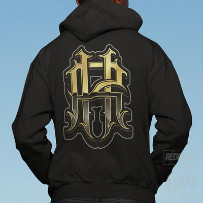 hoodie - rh monogram - black-Hoodies-Red Highs-redhighs-streetwear-clothing