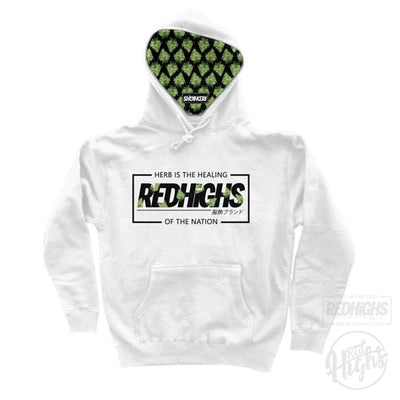HOODIE - weed special edition - white-Hoodies-Red Highs-redhighs-streetwear-clothing