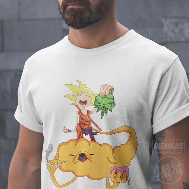 men tshirt - Adventure time x goku weed - white-Men's T-Shirts-Red Highs-redhighs-streetwear-clothing
