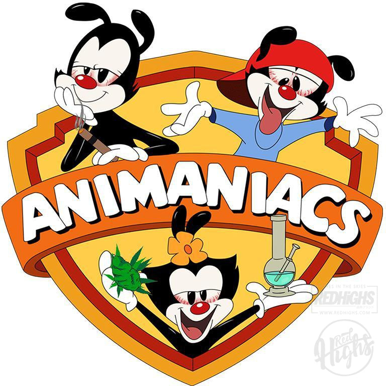 men tshirt - ANIMANIACS STONER - white-Men's T-Shirts-Red Highs-redhighs-streetwear-clothing