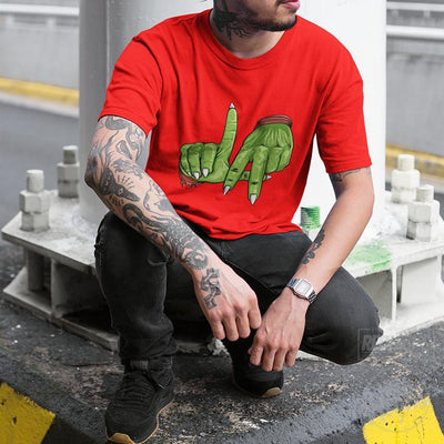 men tshirt - LA sign piccolo - red-Men's T-Shirts-Red Highs-redhighs-streetwear-clothing